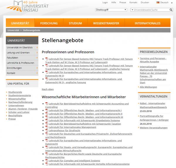 Uni Passau (Career Service) - Studenten