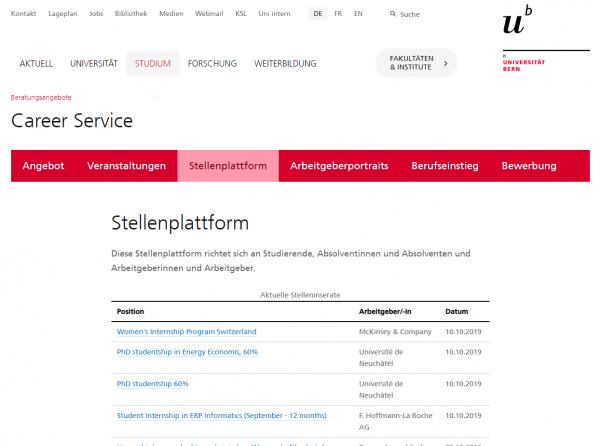 Uni Bern - Career Service