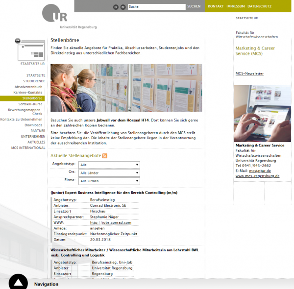 Uni Regensburg (Career Service) - Studenten