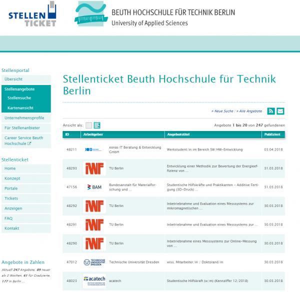Beuth HS Berlin (Stellenticket) - Studenten