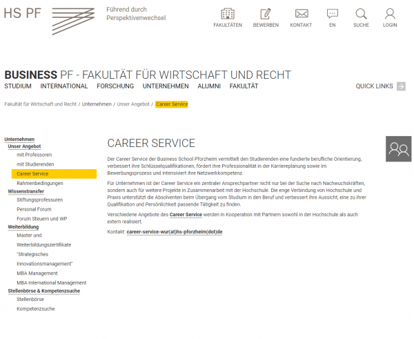 HS Pforzheim (Career Service) - Studenten