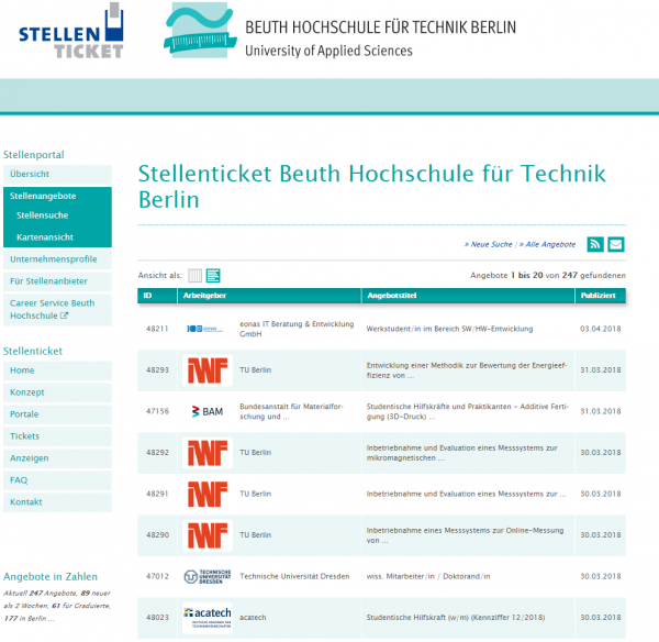 Beuth HS Berlin - Stellenticket