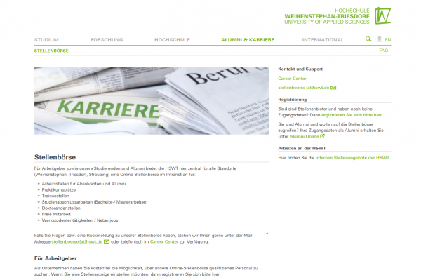 HS Weihenstephan-Triesdorf (Career Center) - Praktikanten