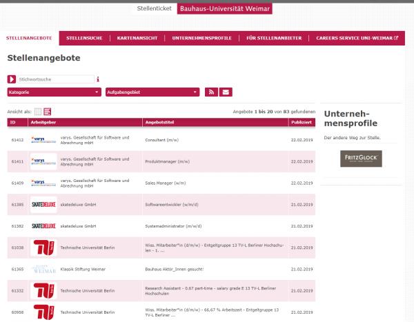 Uni Weimar (Stellenticket) - Studenten
