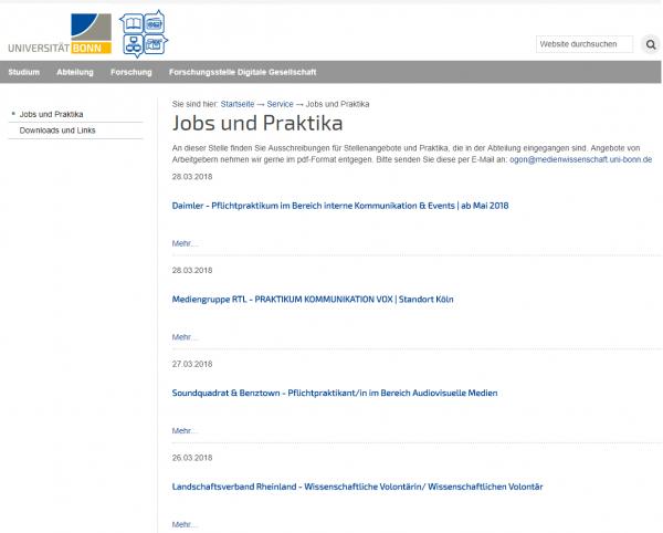 Uni Bonn - Jobbörsen der Fachschaften