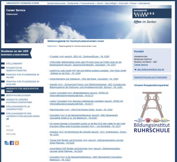 Uni Essen-Duisburg (Career Service - Stellenmarkt) - Studenten