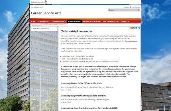 Uni Nimwegen (Fachbereich Geisteswissenschaften) - Career Service