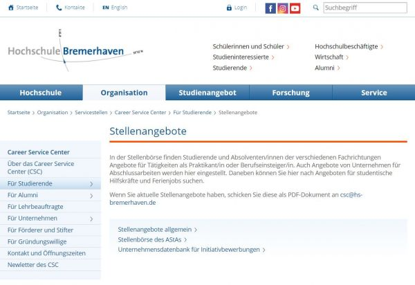 HS Bremerhaven - Career Service Center