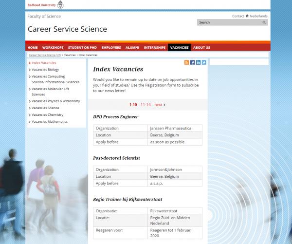 Uni Nimwegen (Fachbereich Naturwissenschaften) (Career Service)