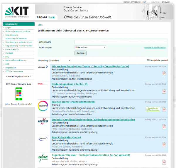 KIT Karlsruhe (Jobportal der KIT) - Studenten