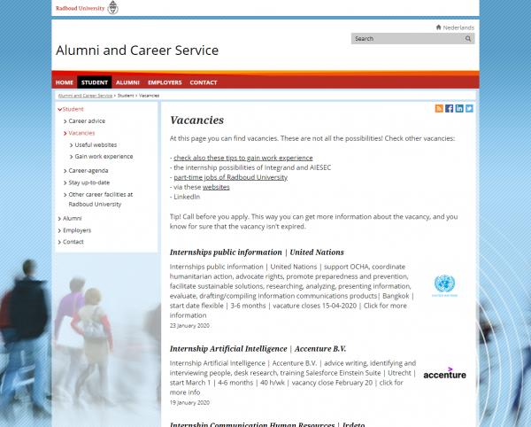 Uni Nimwegen (Fachbereich Sozialwissenschaften) (Career Service)