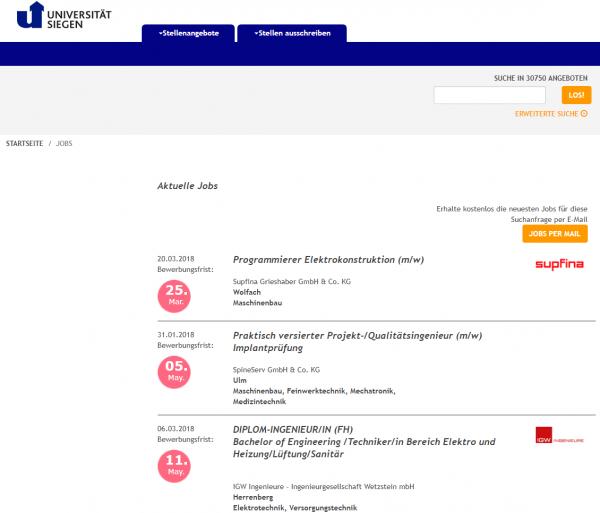 Uni Siegen - Berufsstart
