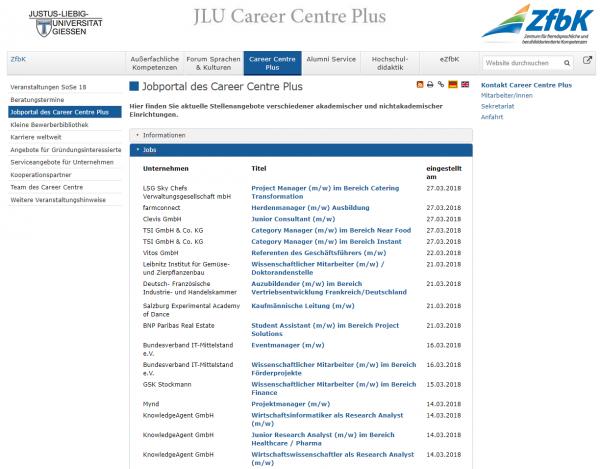 Uni Gießen (Career Center Jobportal) - Studenten