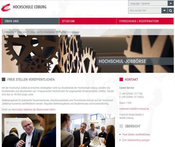 HS Coburg - Hochschul-Jobbörse