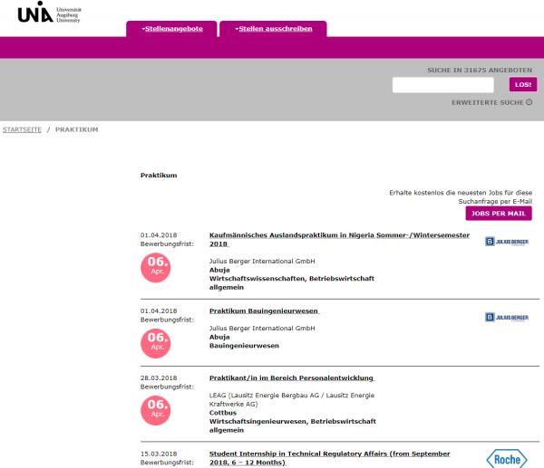 Uni Augsburg - Berufsstart