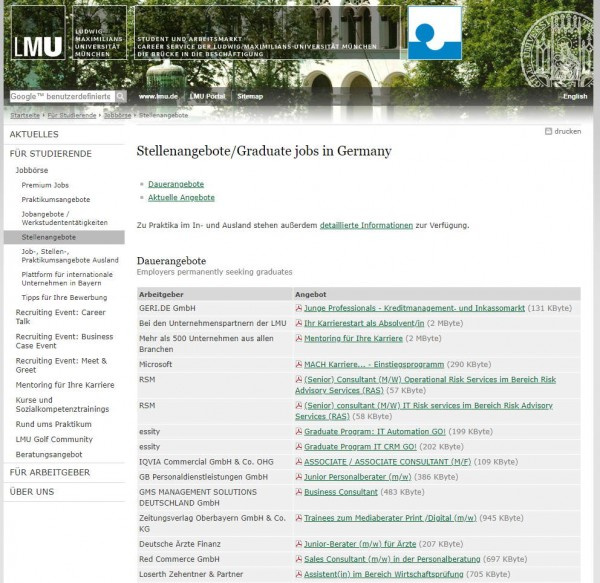 LMU München - Career Center