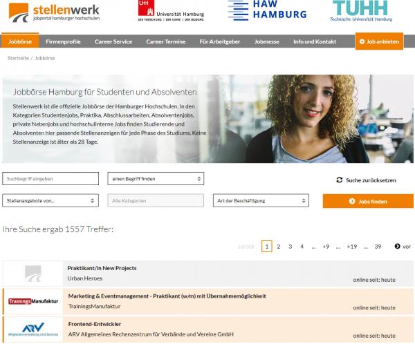 Uni Hamburg, TU Hamburg und HAW Hamburg (Stellenwerk) - Studenten