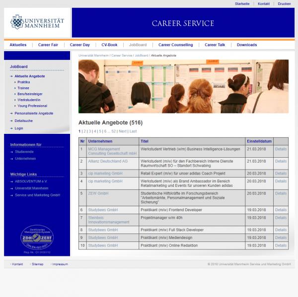 Uni Mannheim (Career Service - Jobboard) - Studenten