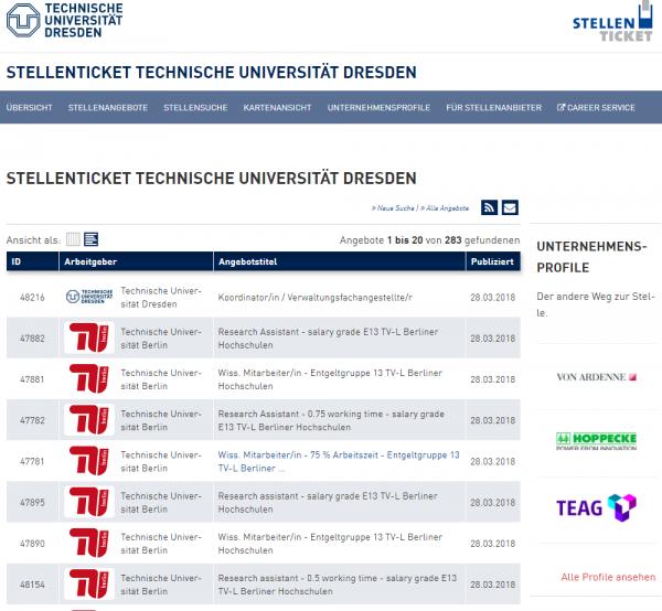 TU Dresden (Stellenticket) - Studenten