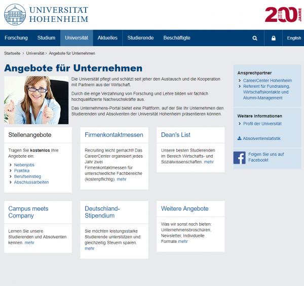 Uni Hohenheim (Career Service) - Studenten