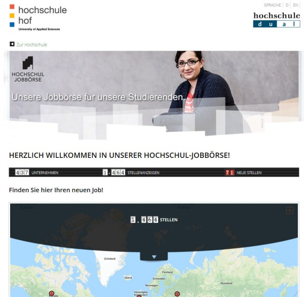 HAW Hof - Hochschul-Jobbörse