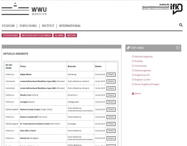 Uni Münster (Career Service) - Praktikanten