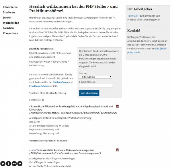 FH Potsdam (Career Center) - Studenten