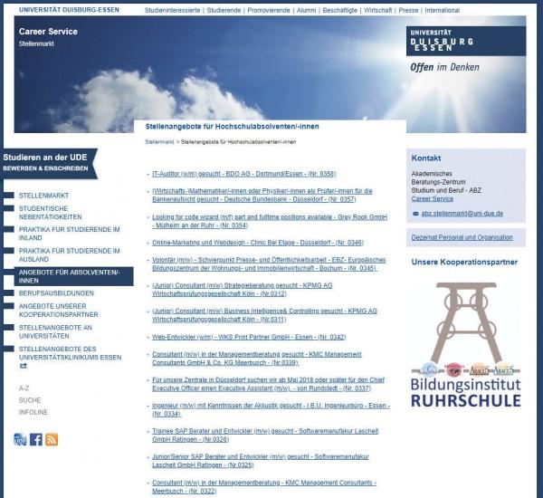 Uni Essen-Duisburg - Career Service