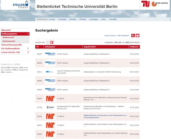 TU Berlin (Stellenticket) - Studenten