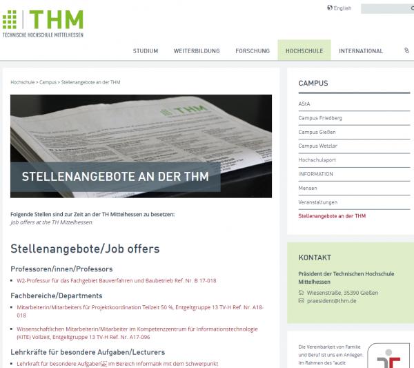 TH Mittelhessen (Career Center) - Praktikanten