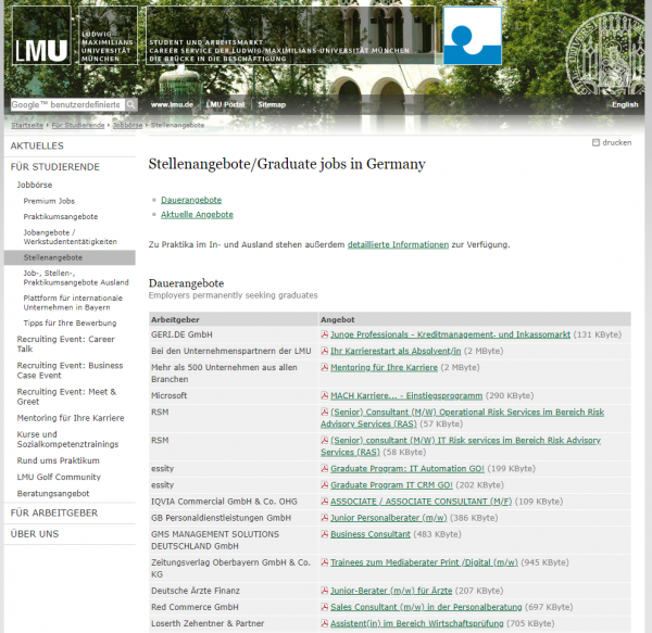 LMU München (Career Center) - Studenten