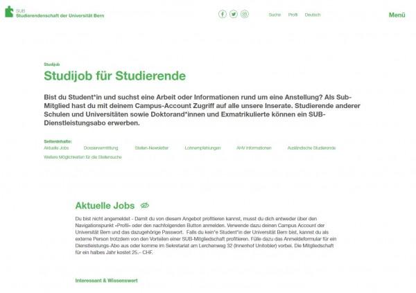Uni Bern - Studijob